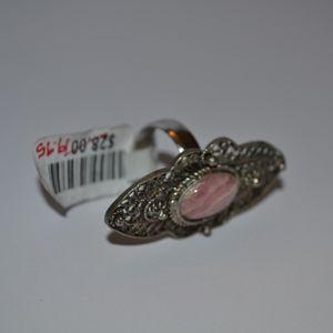 Free People Silver Ring w/ pink gemstone